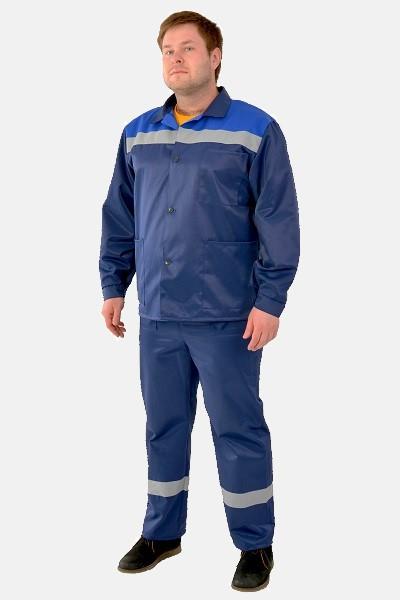 Недорогой рабочий костюм Стандарт синего цвета со светоотражающими полосами и тремя карманами спереди