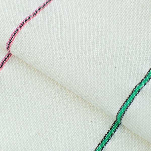 Ткань тик белого цвета с узкими цветными полосами