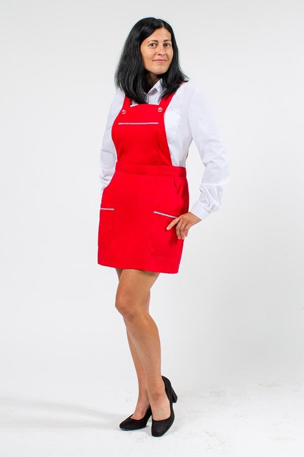 Халат-фартук красного цвета для работников сферы обслуживания