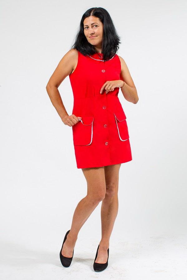 Халат нарядный «Лана» для работы красного цвета без рукавов