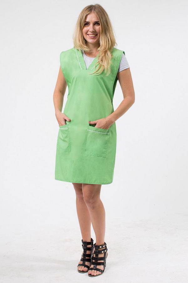 Фартук-халат женский рабочий зеленого цвета