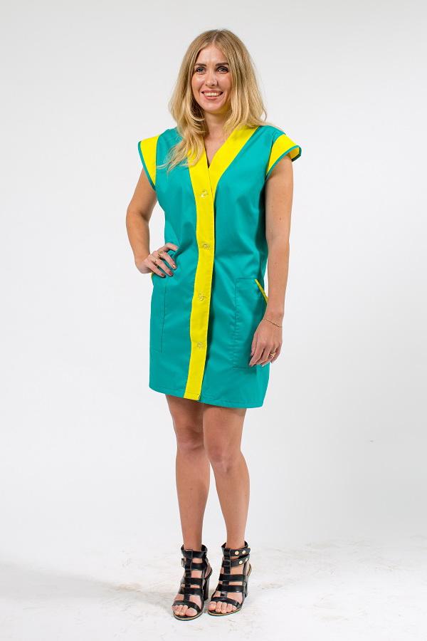 Халат женский «Виктория» для работы зеленого цвета с желтой отделкой