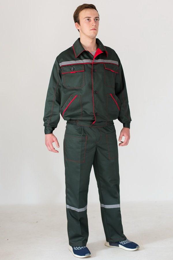 Костюм рабочий для инженерно-технических работников (ИТР) темно-зеленого цвета с СОП к комплектации куртка и брюки