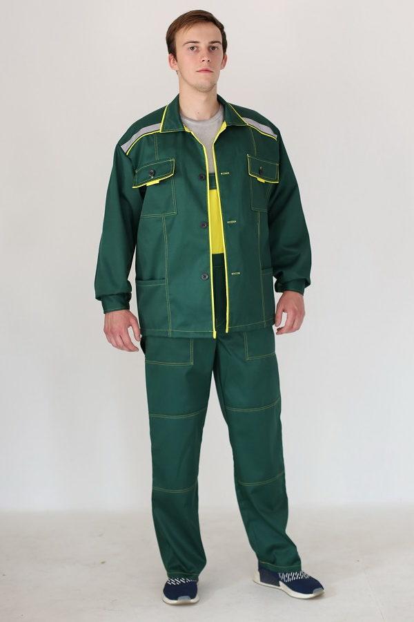Дорогой костюм для ИТР рабочий зеленого цвета