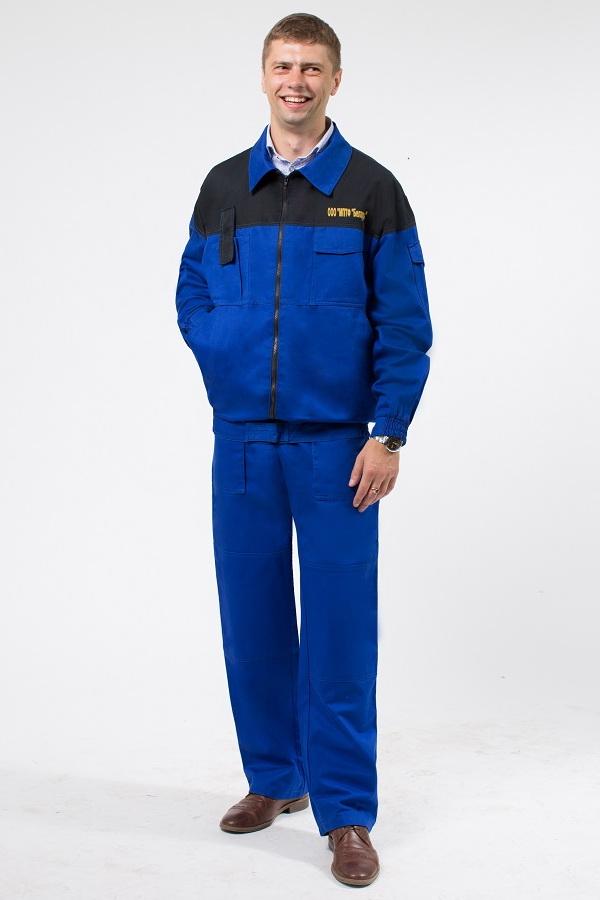 Униформа рабочая синего цвета с черной кокеткой