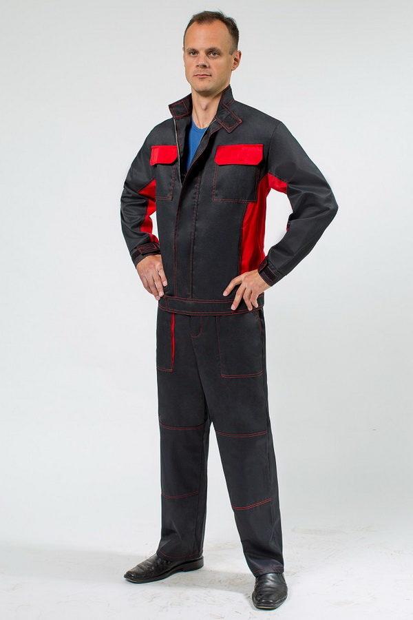 Красивый мужской костюм для работы в комплектации куртка на молнии и брюки