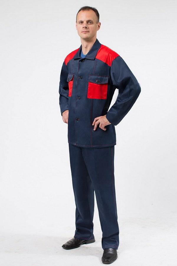 Костюм темно-синего цвета с красными вставками для работы летний