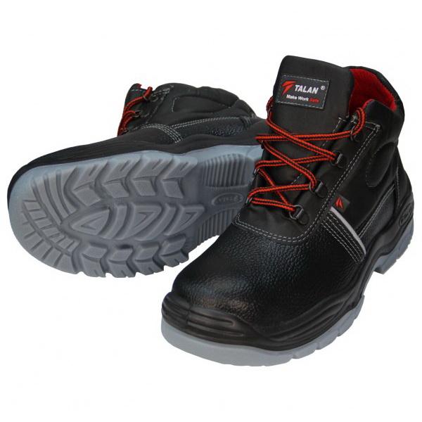 Износостойкие ботинки для рабочих черного цвета с серой подошвой