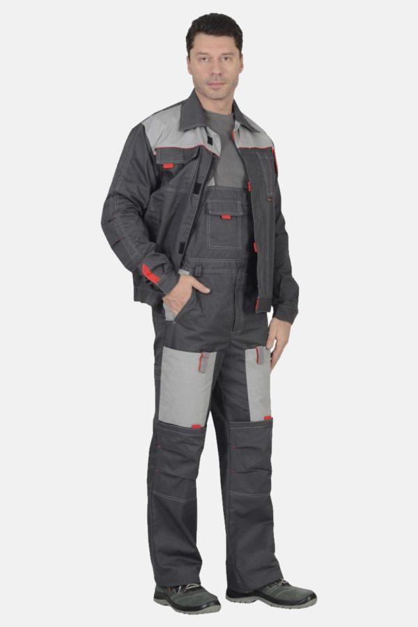 Рабочий костюм Фаворит серого цвета в комплектации куртка и полукомбинезон российского производства